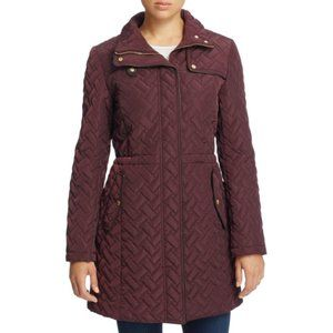 Cole Haan Quilted Maroon Anorak Parka Jacket - XS